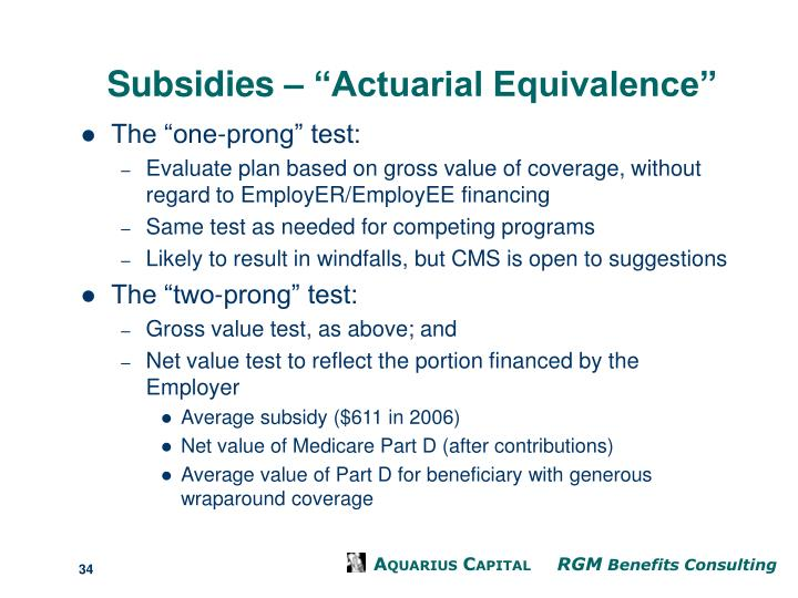 "Subsidies – ""Actuarial Equivalence"""