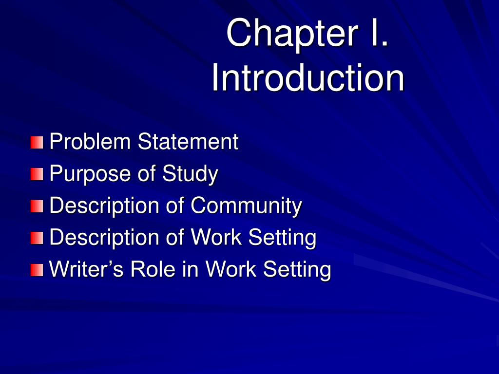 Chapter I. Introduction