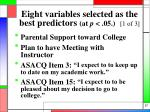 eight variables selected as the best predictors at p 05 1 of 3