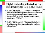 eight variables selected as the best predictors at p 05 2 of 3