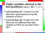 eight variables selected as the best predictors at p 05 3 of 3