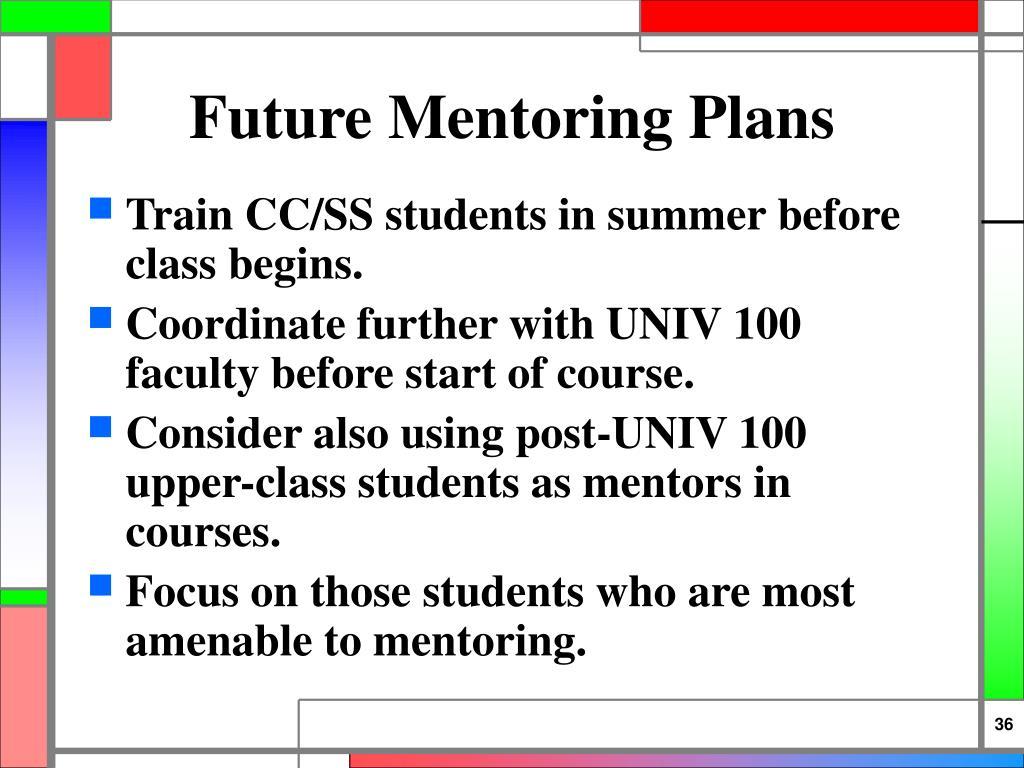 Future Mentoring Plans