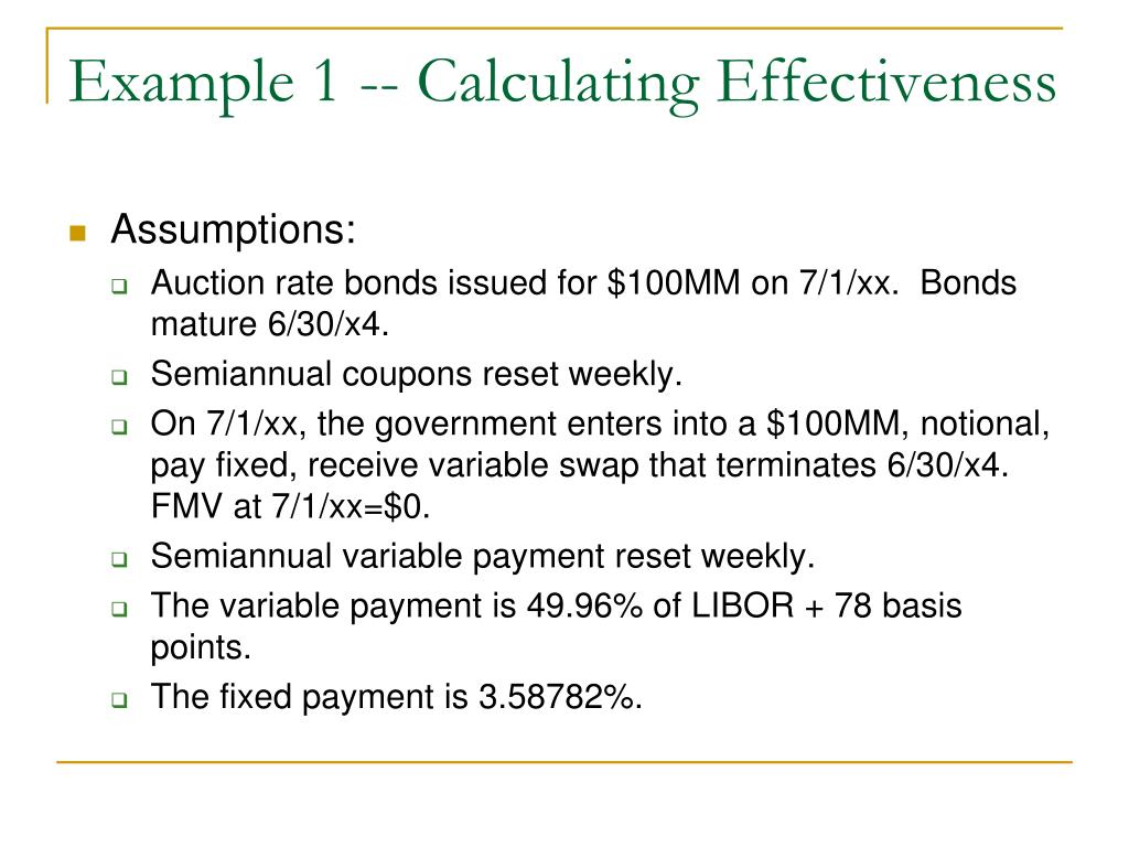 Example 1 -- Calculating Effectiveness