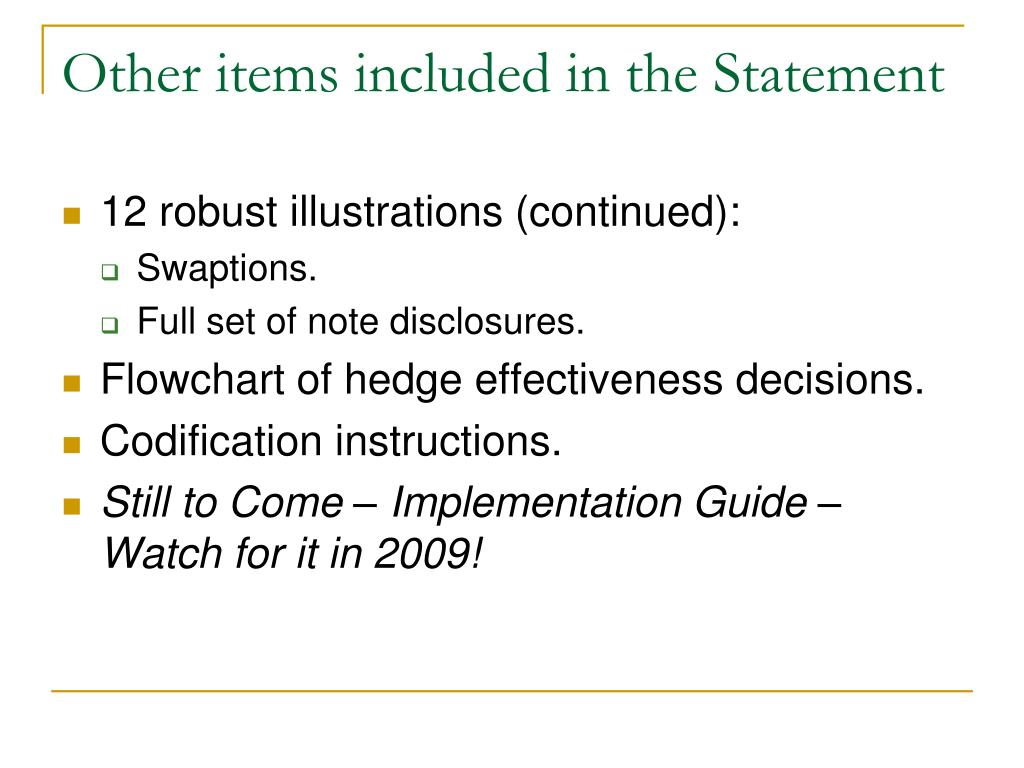 Other items included in the Statement