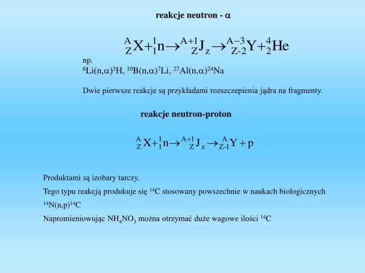 reakcje neutron -