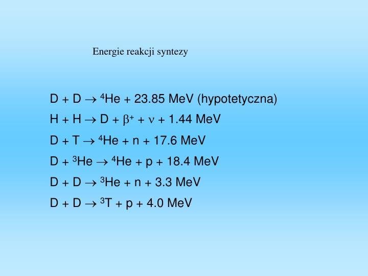 Energie reakcji syntezy