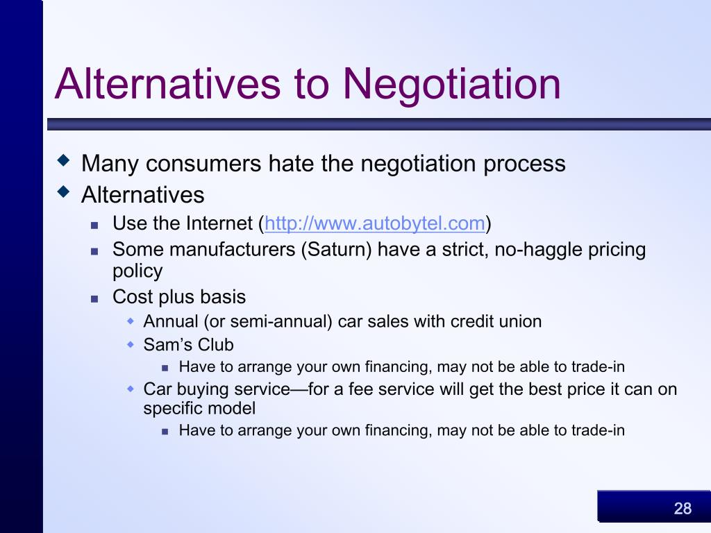 Alternatives to Negotiation