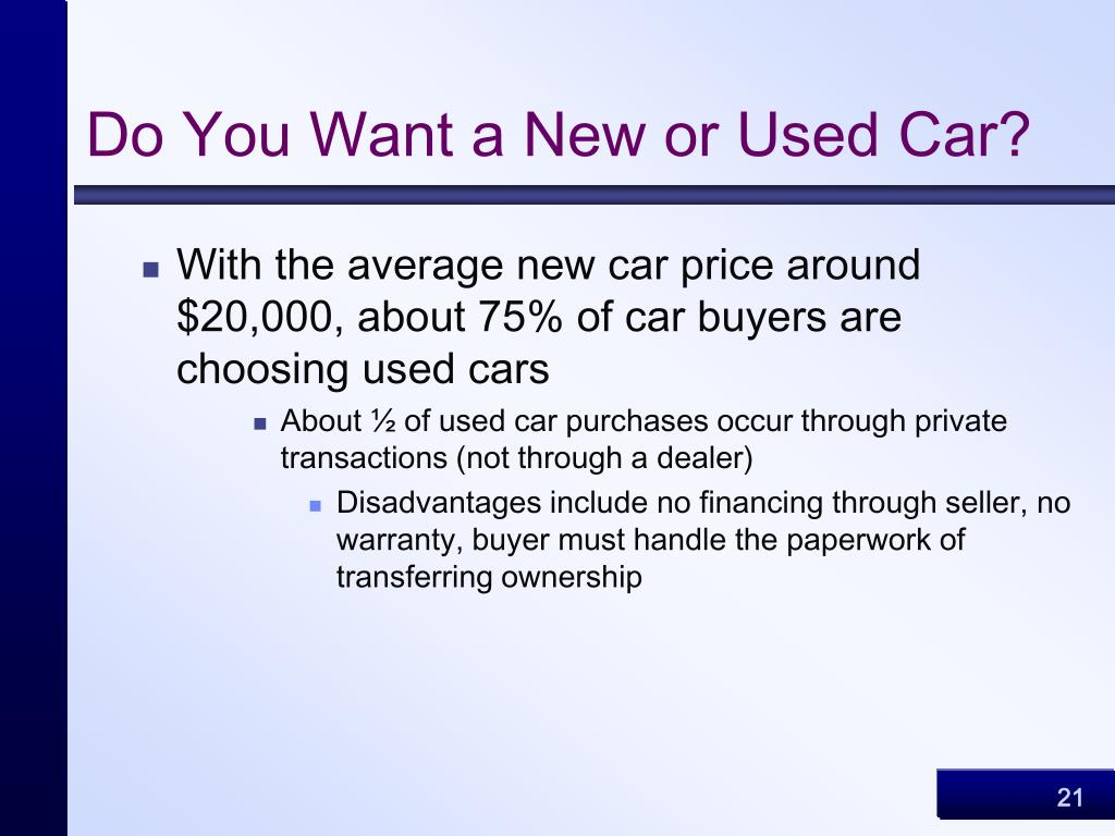 Do You Want a New or Used Car?