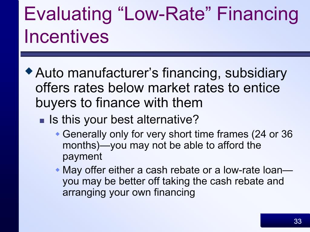 "Evaluating ""Low-Rate"" Financing Incentives"