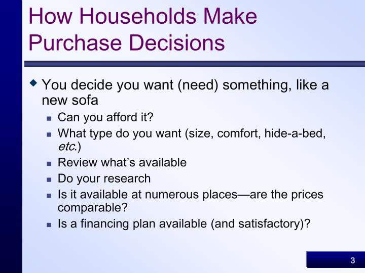 How households make purchase decisions