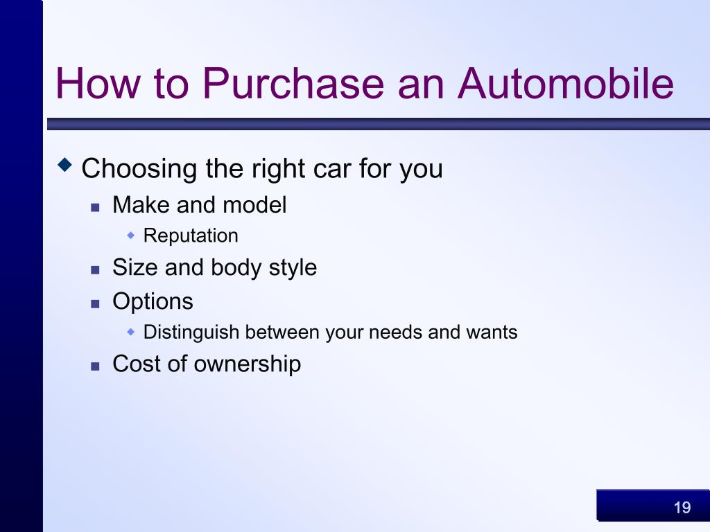 How to Purchase an Automobile