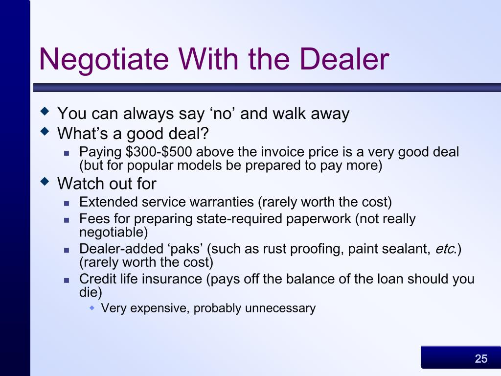 Negotiate With the Dealer