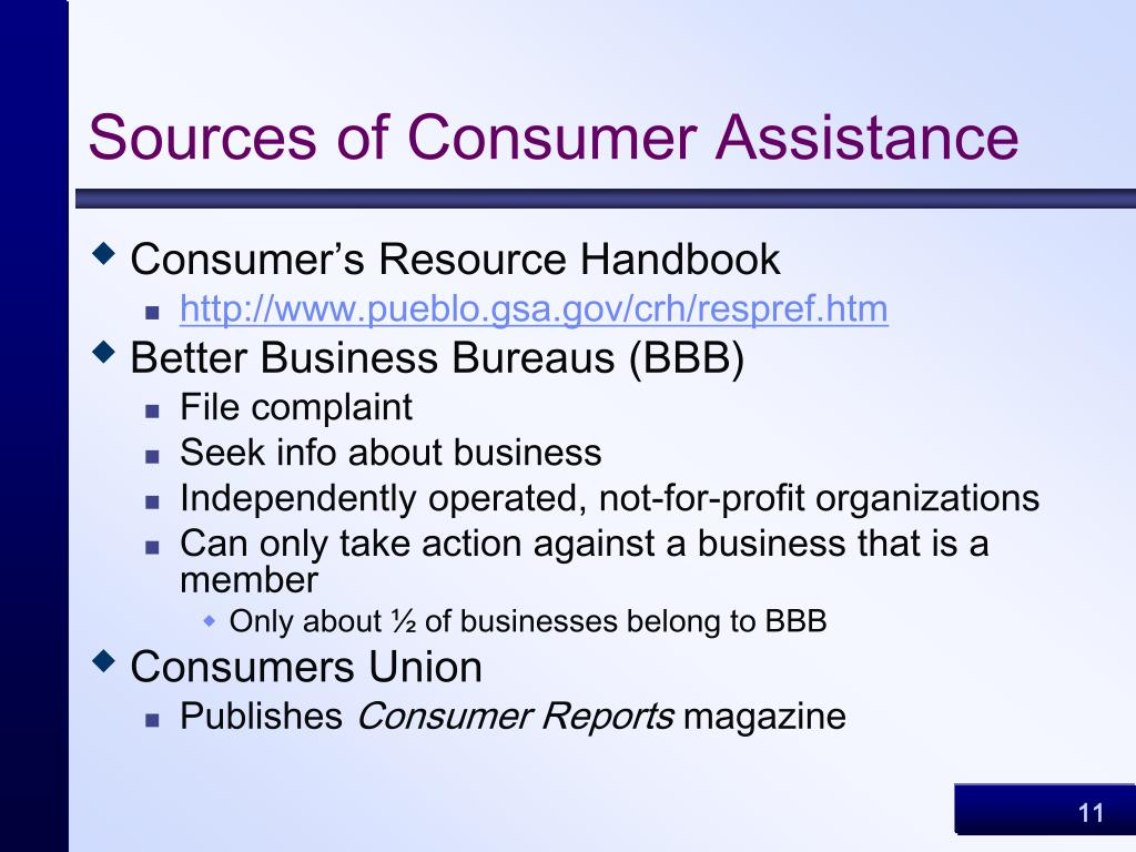 Sources of Consumer Assistance