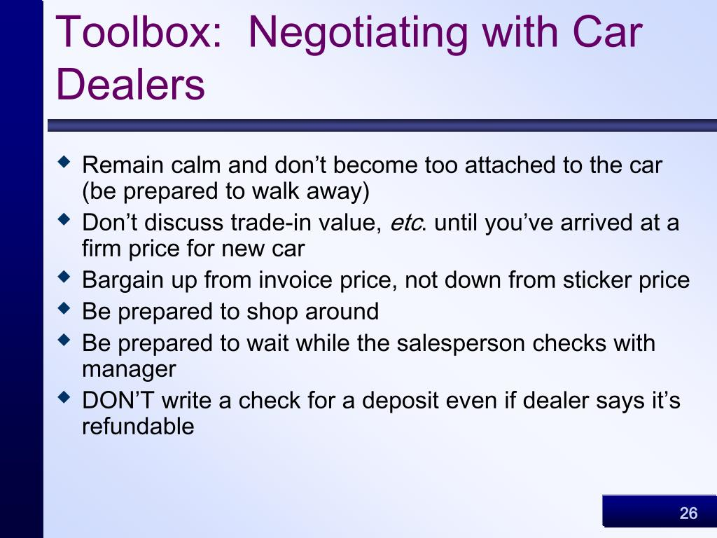 Toolbox:  Negotiating with Car Dealers