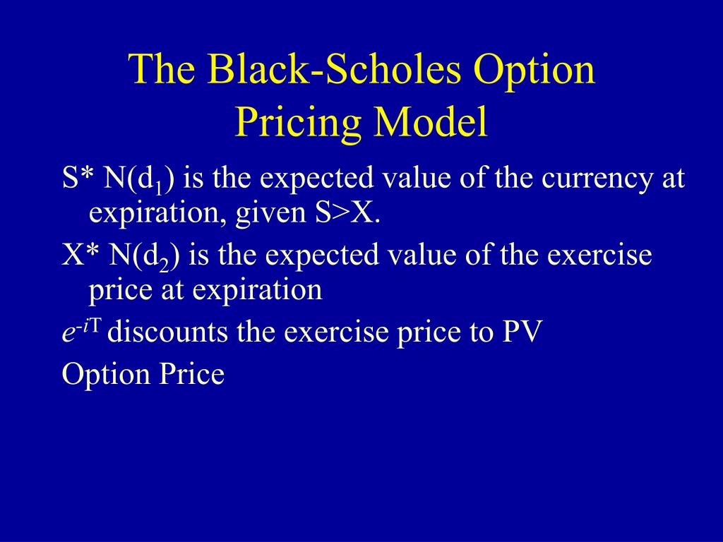 black scholes option pricing model 6 option pricing models option pricing theory has made vast strides since 1972, when black and scholes published their path-breaking paper providing a model for valuing dividend-protected.
