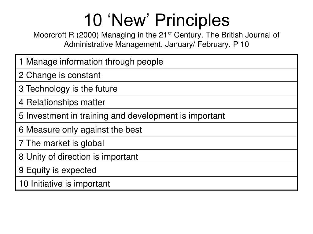 10 'New' Principles