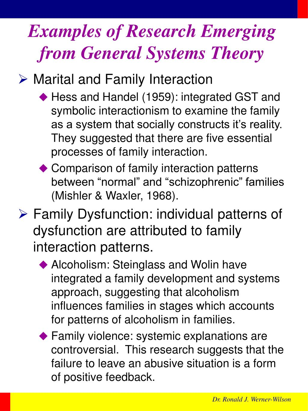 Examples of Research Emerging from General Systems Theory