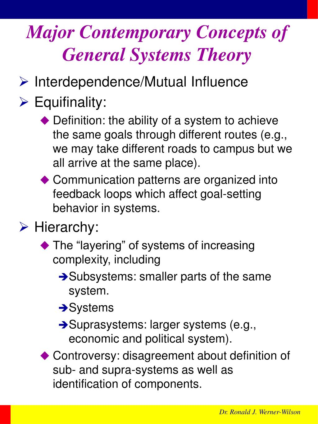 Major Contemporary Concepts of General Systems Theory