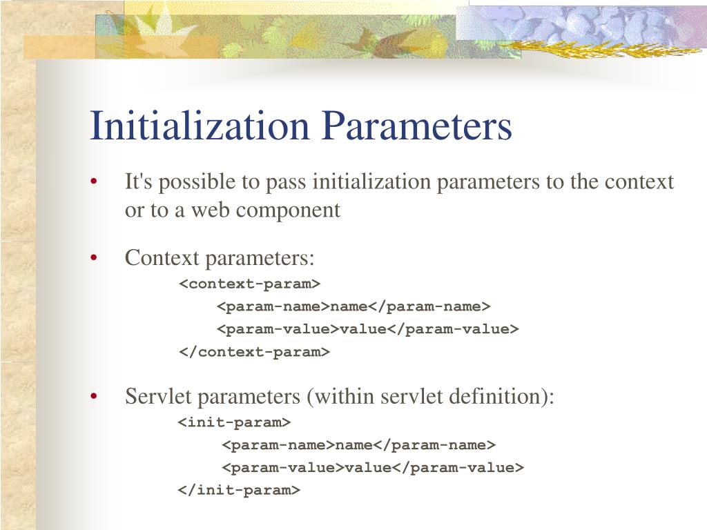 Initialization Parameters