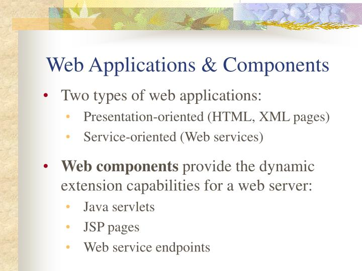 Web applications components