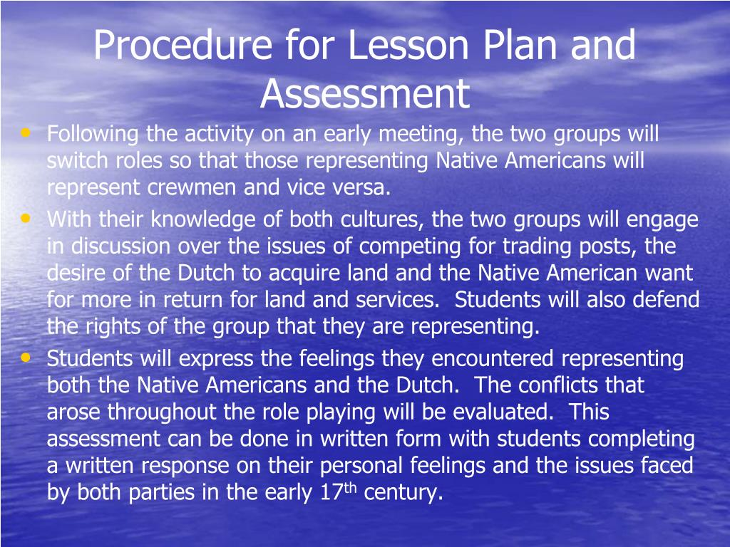 Procedure for Lesson Plan and Assessment