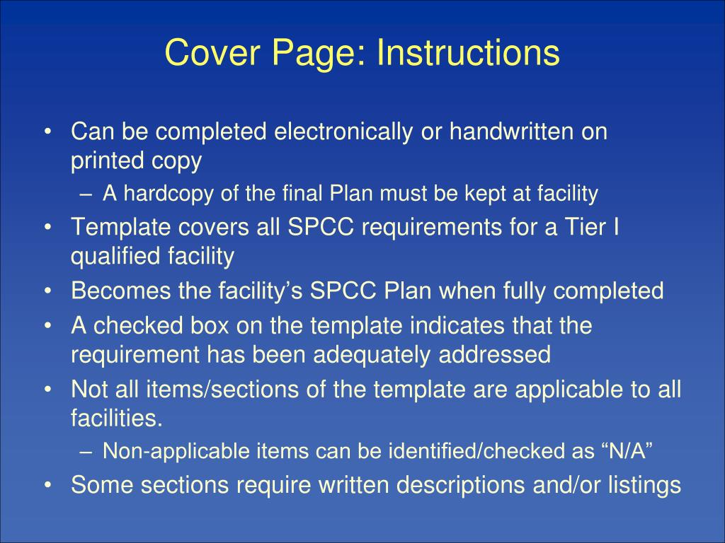 Cover Page: Instructions