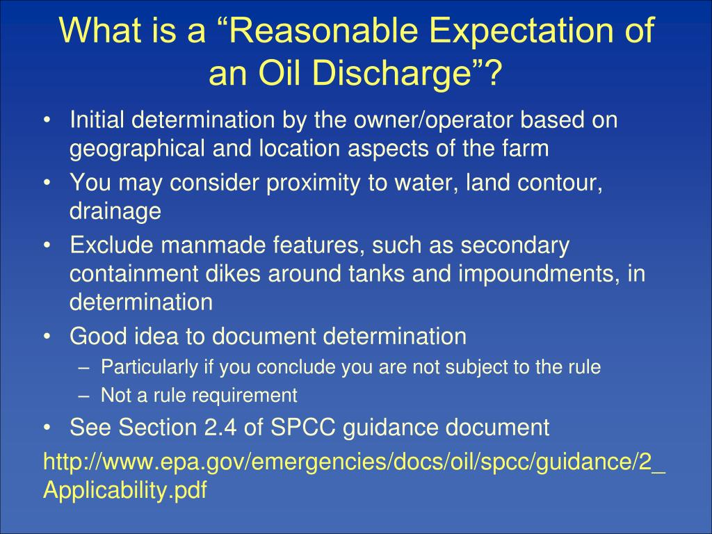 """What is a """"Reasonable Expectation of an Oil Discharge""""?"""