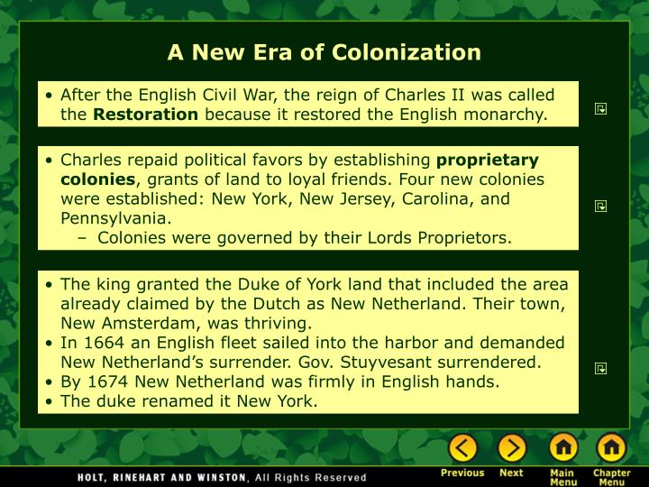 A New Era of Colonization