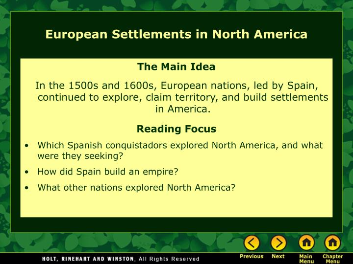 European settlements in north america