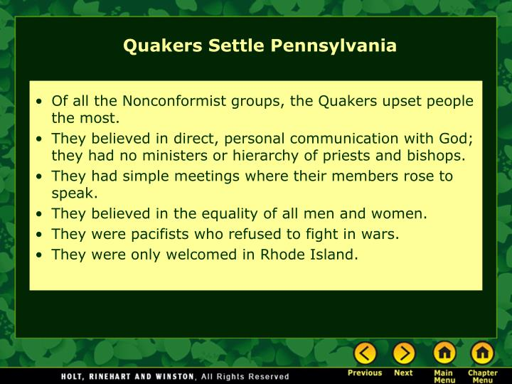 Of all the Nonconformist groups, the Quakers upset people the most.