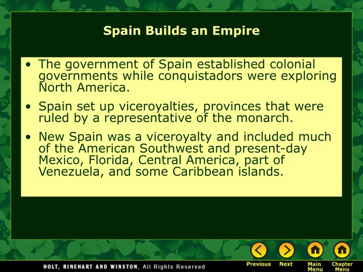 The government of Spain established colonial governments while conquistadors were exploring North America.