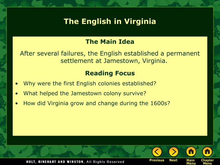 The English in Virginia