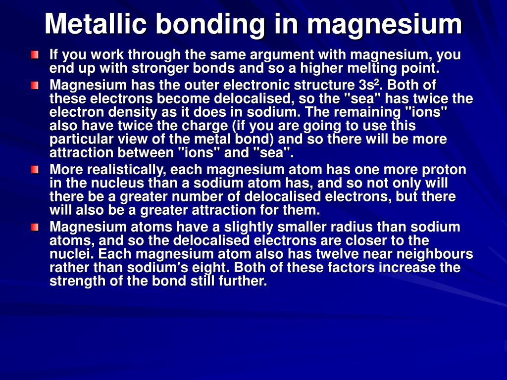 Metallic bonding in magnesium