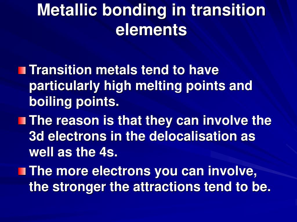Metallic bonding in transition elements