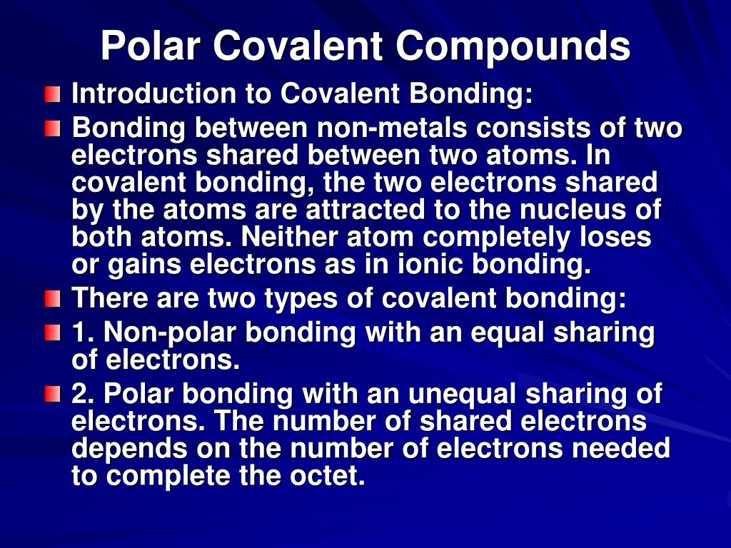 Polar Covalent Compounds
