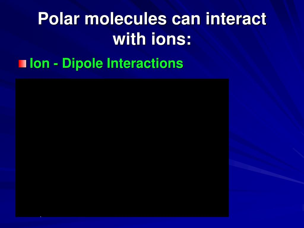 Polar molecules can interact with ions: