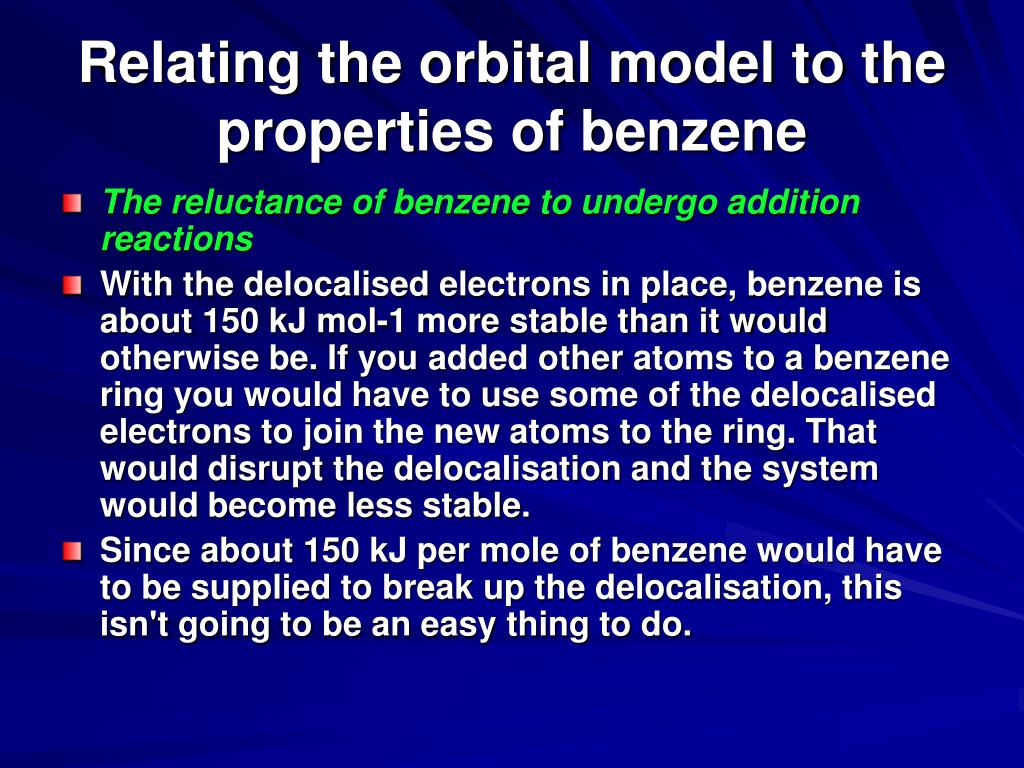 Relating the orbital model to the properties of benzene