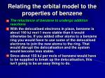relating the orbital model to the properties of benzene125