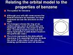 relating the orbital model to the properties of benzene126