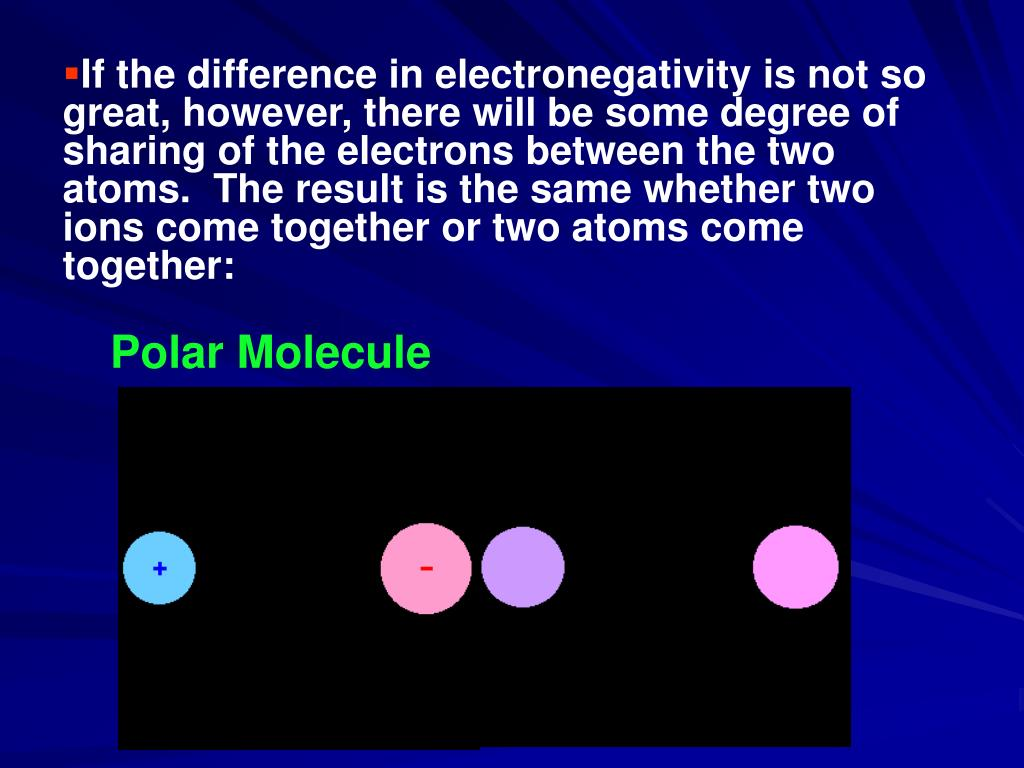 If the difference in electronegativity is not so great, however, there will be some degree of sharing of the electrons between the two atoms.  The result is the same whether two ions come together or two atoms come together: