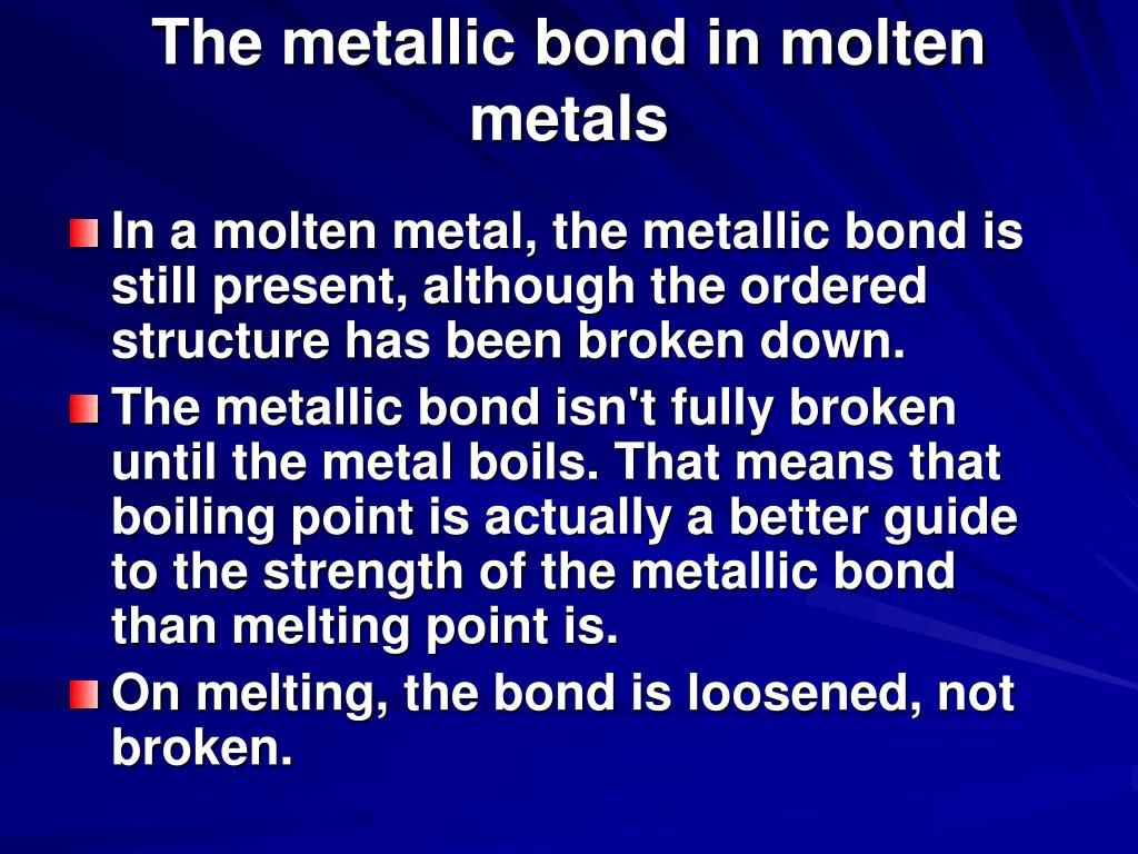 The metallic bond in molten metals