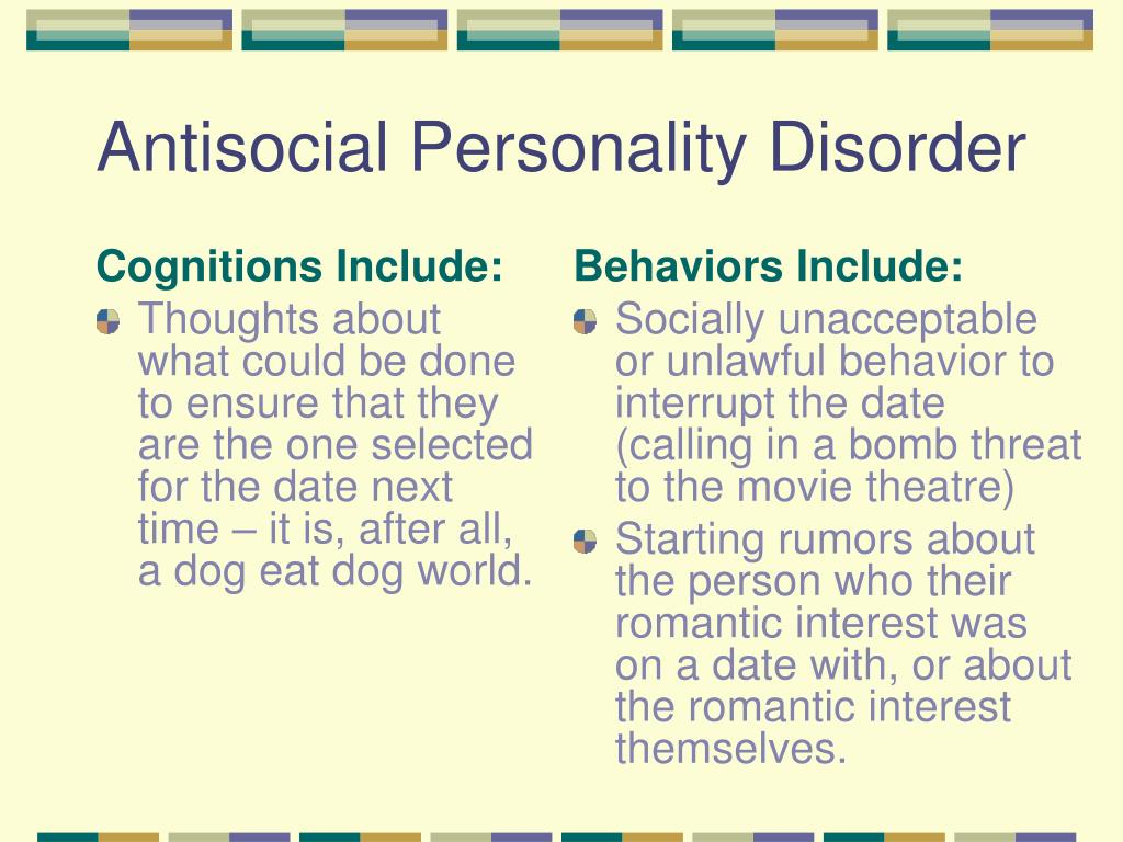 treatment of antisocial personality disorder essay While antisocial personality disorder can be quite resistant to treatment, the most effective interventions tend to be a combination of firm but fair behavior therapy and programming that emphasizes teaching the antisocial personality disorder individuals skills that can be used to live independently and productively within the rules and limits of society.