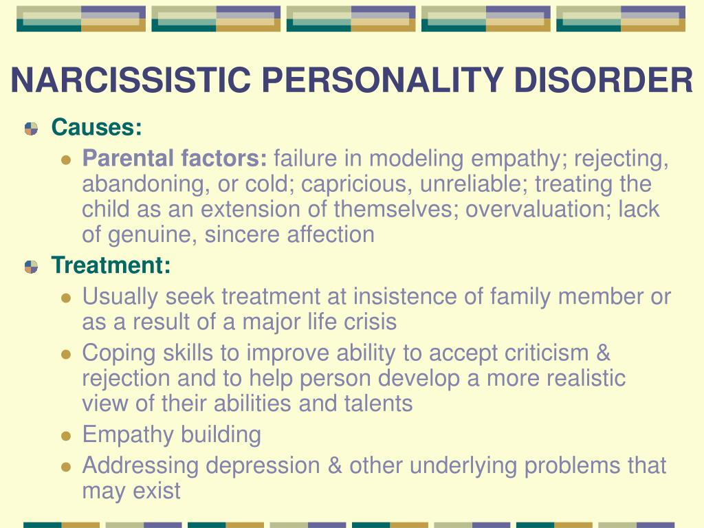 Narcissistic personality disorder and treatment essay