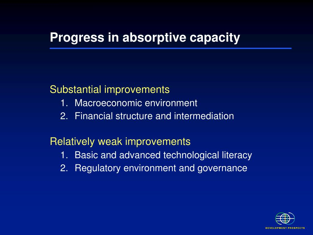 Progress in absorptive capacity