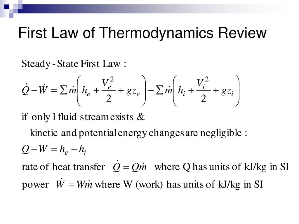 an overview of the first law of thermodynamics This leads to an important construct of the first law of thermodynamics: the capacity of a system to do work is increased by heating the system or doing work on it 191: pressure-volume work work in general is defined as a product of a force f and a path element ds.