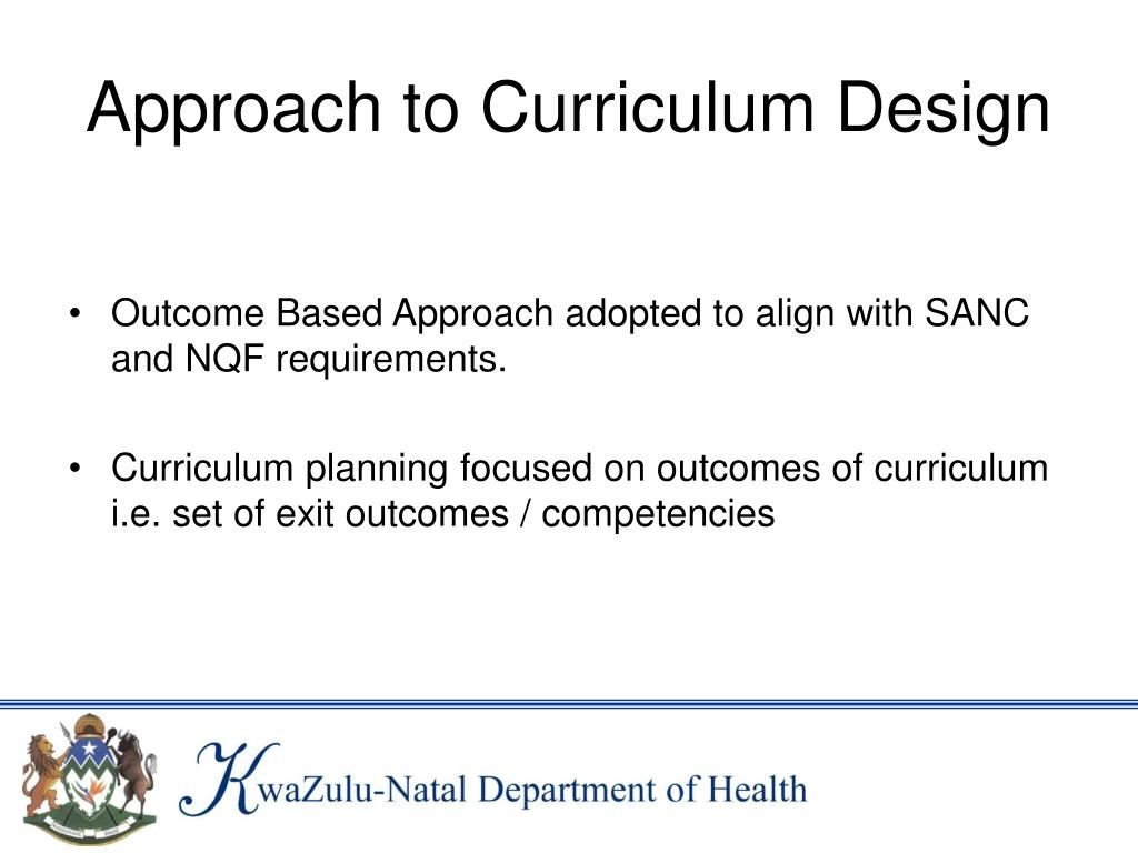 Approach to Curriculum Design