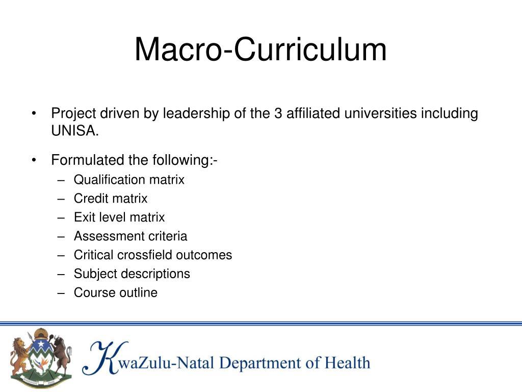 Macro-Curriculum