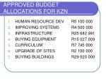 approved budget allocations for kzn