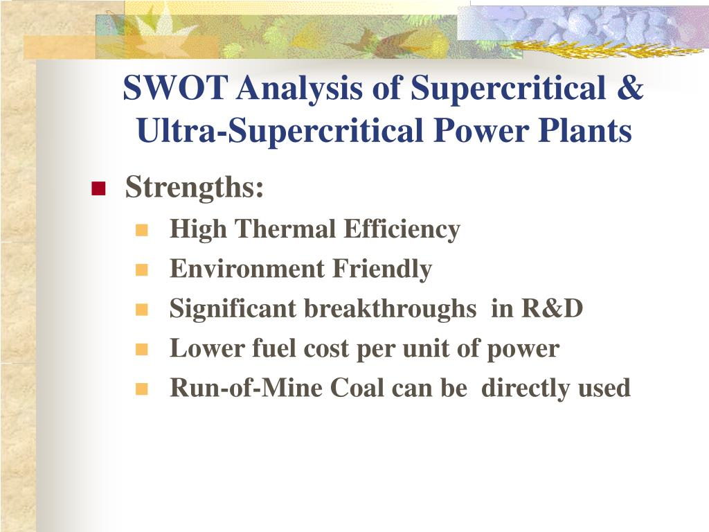 SWOT Analysis of Supercritical & Ultra-Supercritical Power Plants