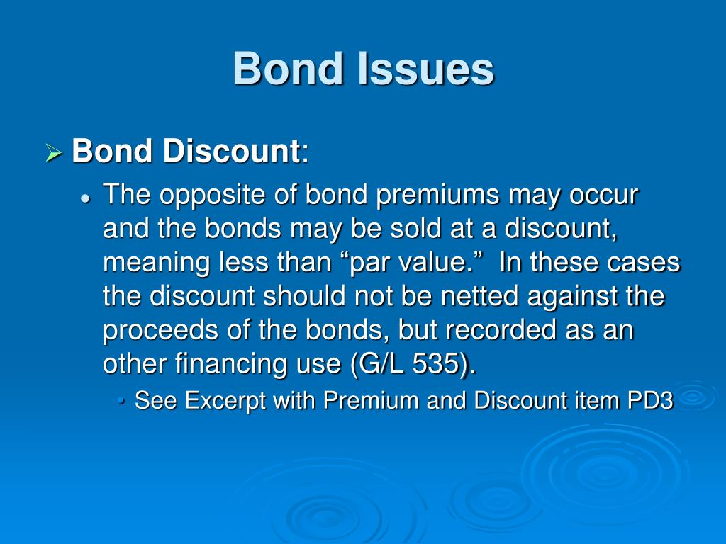 about bond issue English[edit] noun[edit] bond issue (plural bond issues) (law) the offering of  bonds for sale to investors retrieved from.
